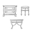 furniture set - antique bureau tables isolated on vector image