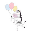 greeting card with zebra vector image
