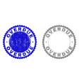 grunge overdue textured stamp seals vector image vector image