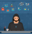 hacker man hacking secret data on the laptop icon vector image