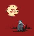 halloween grim reaper standing under moon vector image vector image