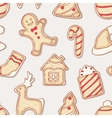 Hand drawn gingerbread cookies seamless pattern