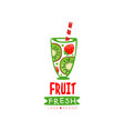 hand drawn logo with glass of fresh fruit vector image vector image