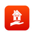 hand holding house icon digital red vector image vector image