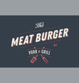 label template of meat burger vector image vector image
