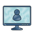 monitor computer with user avatar vector image vector image