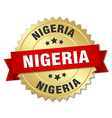 Nigeria round golden badge with red ribbon vector image vector image