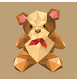 origami teddy bear with red bow vector image vector image
