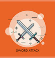 pair of crossed or clashing swords vector image