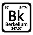 Periodic table element berkelium icon vector image vector image