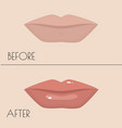 permanent makeup of lips before and after the vector image vector image