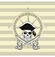 pirate skull emblem image vector image vector image