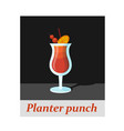 planter punch cocktail menu item or any kind of vector image vector image
