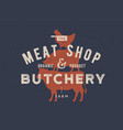 poster for butchery meat shop cow pig hen vector image vector image