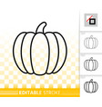 pumpkin simple editable stroke icon set vector image