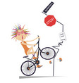 road accident and young woman on the bicycle vector image vector image