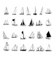 sailboat collection cartoon clipart vector image