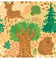 seamless pattern with deer bears in woods vector image