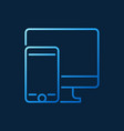 smartphone with computer blue line icon vector image