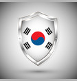 south korea flag on metal shiny shield vector image vector image