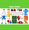 table tennis sport equipment game player garment vector image vector image