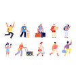travel people with luggage traveller vacation vector image vector image