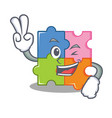 two finger puzzle character cartoon style vector image