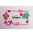 valentines day card frame pink 3d love elements vector image