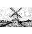 windmill landscape in vintage retro hand drawn or vector image vector image