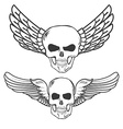 Winged Skulls isolated on white background vector image vector image