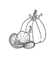 witch hat and pumpkin halloween doodles isolated vector image