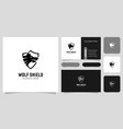 wolf head and shield logo design vector image vector image