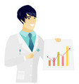 young asian doctor showing financial chart vector image vector image