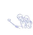 young man woman couple taking selfie camera photo vector image vector image