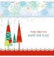 Christmas trees card in traditional colors over vector image