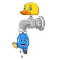 a drop water hanging from faucet vector image
