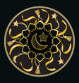 arabic golden luxury pattern on black background vector image vector image