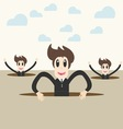 businessteam coming out through a crack vector image vector image