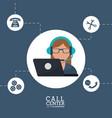 call center operator support helpline service vector image vector image