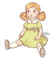cartoon doll sits in a green dress vector image vector image