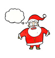 cartoon shocked santa claus with thought bubble vector image vector image