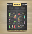 chalk drawing cocktail menu design vector image vector image