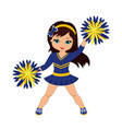 cheerleader in blue yellow uniform with pom pom vector image