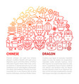 chinese dragon line template vector image vector image