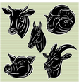 collection of heads animals for design vector image vector image