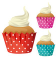 cupcake with cream in different color cups vector image vector image