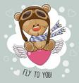 cute cartoon teddy bear in a pilot hat vector image vector image
