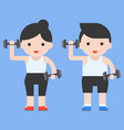 cute character and dumbbell weight lifting set vector image