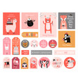 cute gift tags with woodland animals celebrating vector image vector image