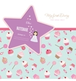 Cute template for notebook cover girls My first vector image vector image